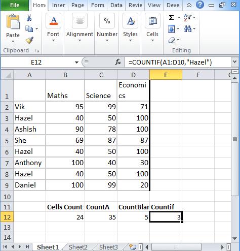 Excel-Countif