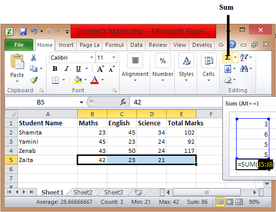 Excel-Formulas-Sum