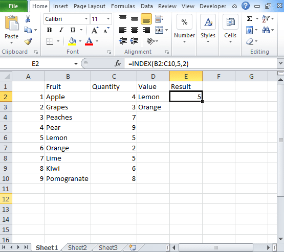 INDEX Function in Excel: Step by Step Guide