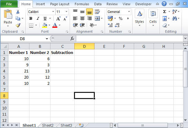 Excel Subtraction Formula: How to use Subtract Function